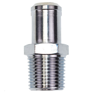 "CHROME WATER PUMP FITTING BBC/SBC 1/2"" NPT TO 3/4"" HOSE"