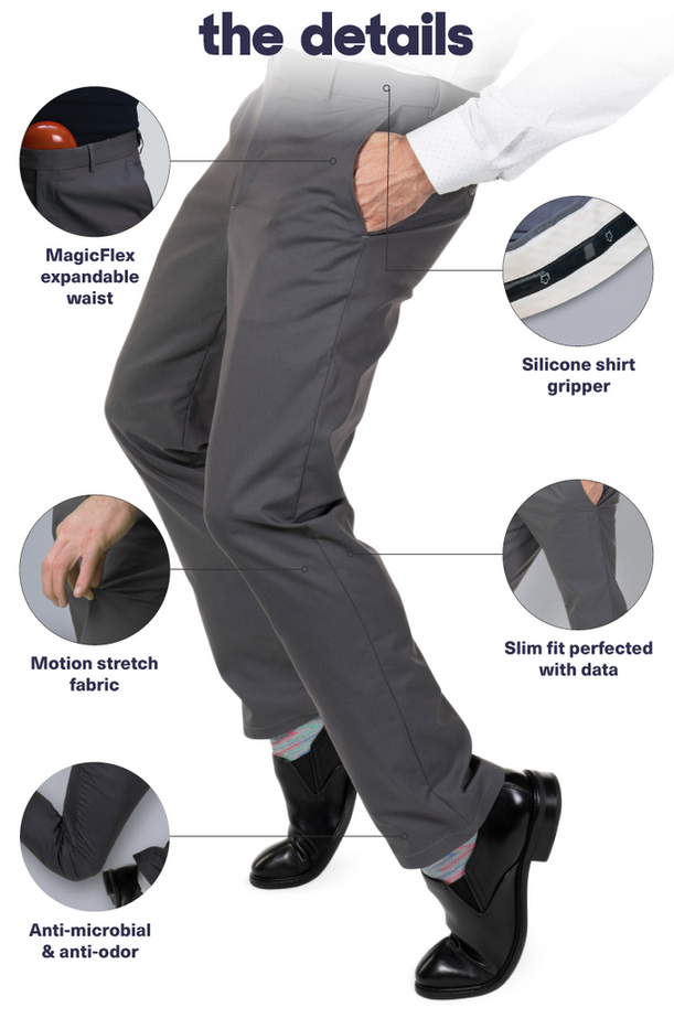 Slim Fit Chinos | MagicFlex® Expandable Waist & ShirtGrip Non-Slip Gripper
