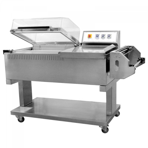 Stainless Steel Chamber Shrink Wrapping System with Film Dispenser and Sealer - 22