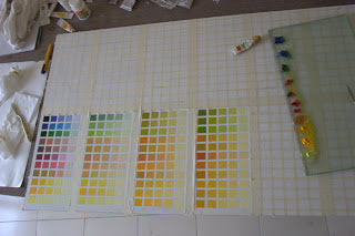 Making Color Charts with oil colors to learn Color Mixing