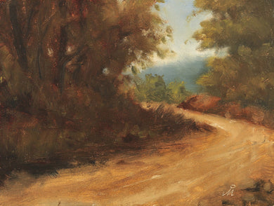 Landscape painting showing a turn in a mud road through a hilly and thickly forested area.