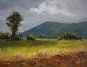Landscape painting of a farm with some shrubs, distant mountain and sky with storm clouds.