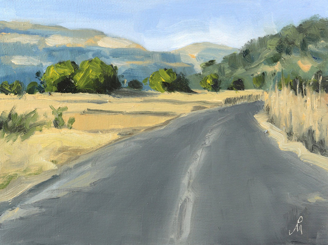 A sunny landscape painting of an empty road through a harvested farm. Green hills and a clear sky is seen in the background.