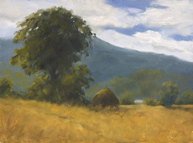 Landscape painting of hay stacks under a large tree and a distant mountain.