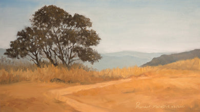 Oil Painting of a large tree on a dry grassy hilltop in evening light.