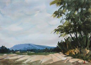 Landscape painting of an afternoon at a farm, tall trees on it's edge, a blue distant mountain and a clear blue sky.