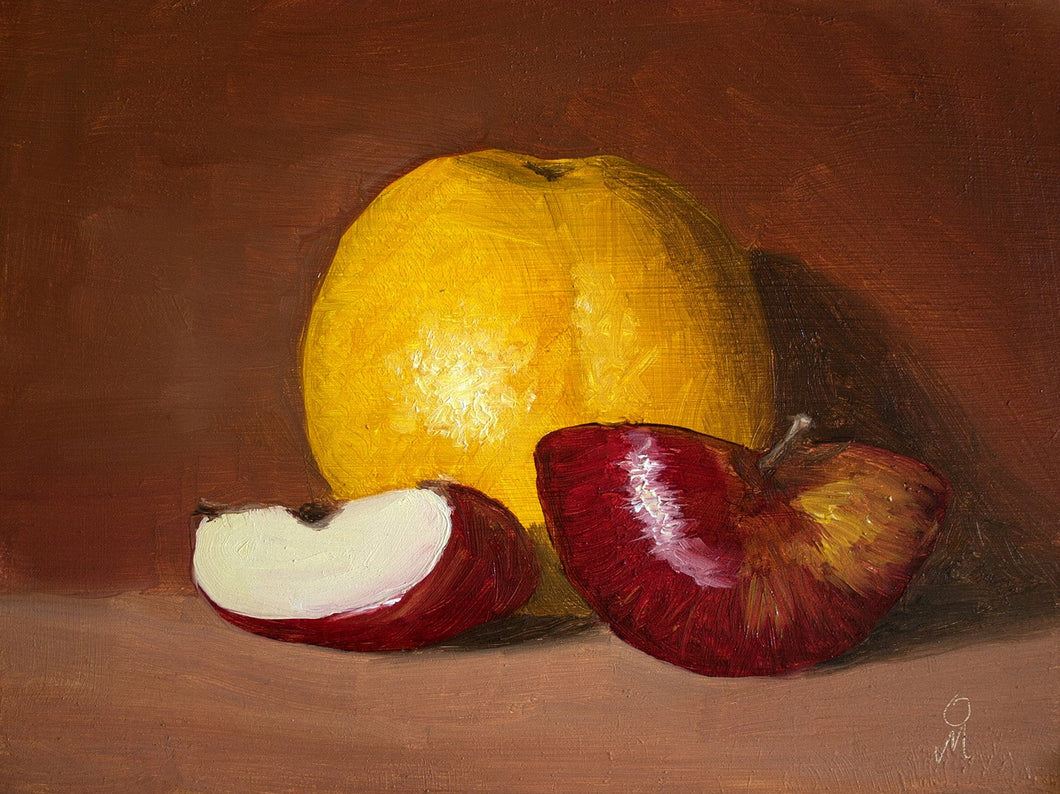 Still life painting showing an arrangement of a whole sweet lime and two pieces of red apple against a brown background.