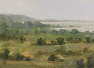 Landscape painting showing backwater of Ujani dam and surrounding land in hazy dusk light.