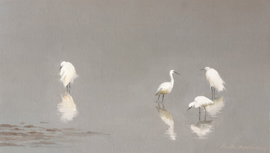 Oil Painting of egrets and their reflection in shallow lake water.
