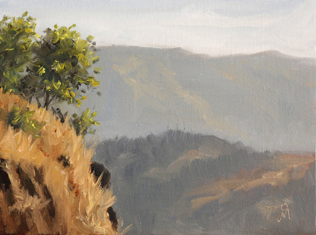 Landscape painting of shrubs on a rocky cliff against the backdrop of distant hills.