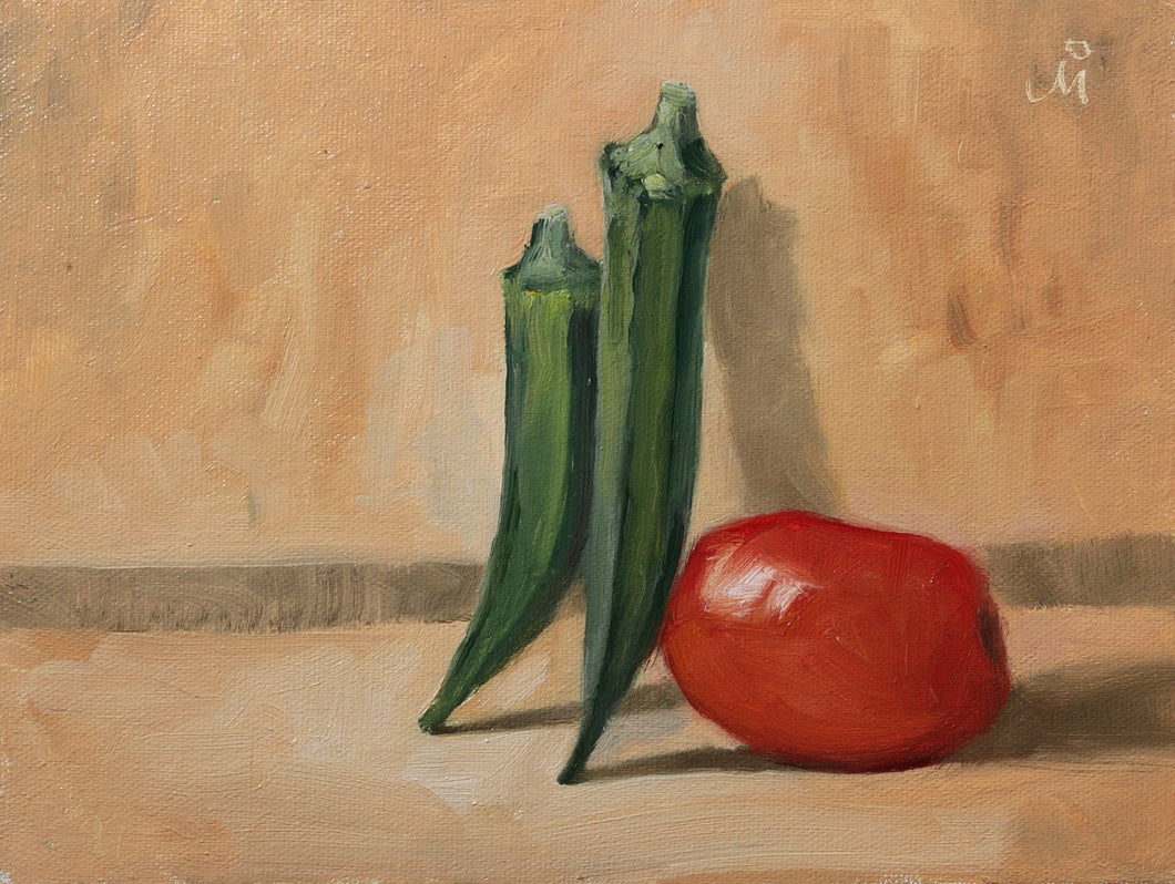 Still life painting showing an arrangement of two lady finger or okra pods and a red tomato against a brown background.