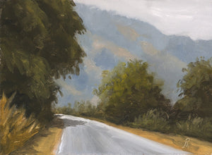 A sunny landscape painting with roadside trees, a tall blue mountain in the background, a road leading uphill and shadows of trees on the road.