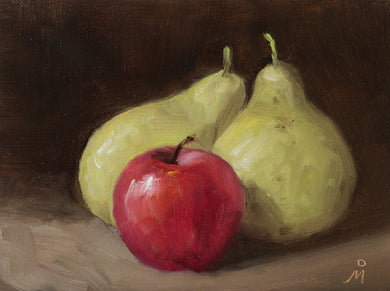 Still life painting showing an arragement of two green pears and a red apple againsta a dark background.