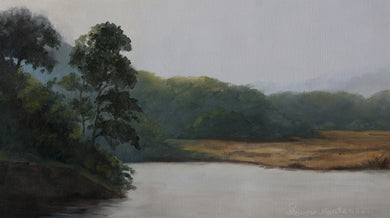 Oil Painting of a evening at a lake.