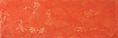 Orange toned oil painting abstract arrangement of rectangular shpes of various sizes.