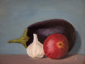 Still life painting showing an arrangement of an eggplant, a garlic and a red onion against a bluish background.