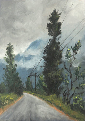 Landscape painting of an empty road, tall trees, and a mountain partially covered by clouds.
