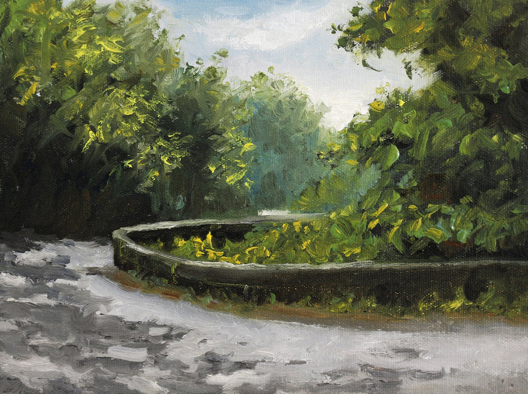 Landscape painting of dappled light falling on a turning road, passing through thick forest.