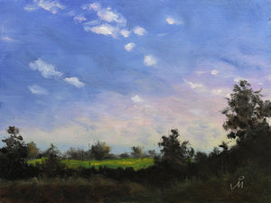 Landscape painting of an evening at a farm. Small white clouds float in a sky filled with sunset colors.