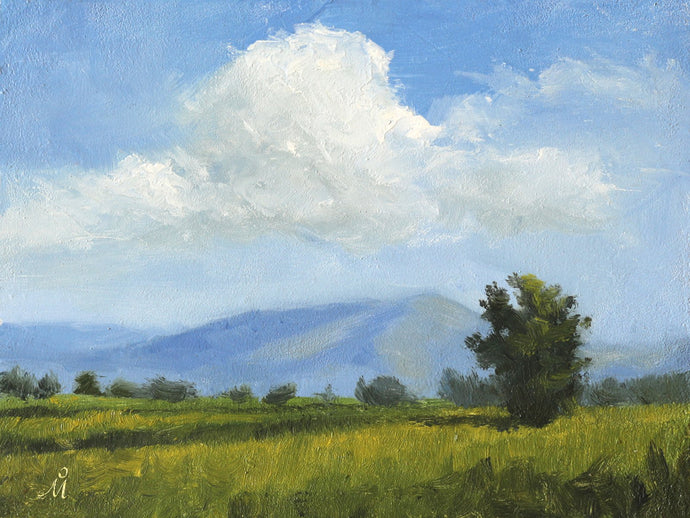 A sunny landscape painting of huge cumulus clouds floating above a lush green farmland. Some trees and mountains are seen in the background.