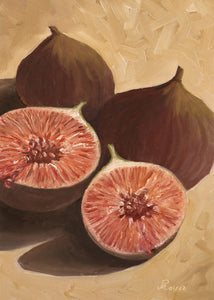 Oil painting of two full and one cut figs.