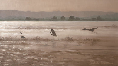 Oil Painting of herons fishing in the lake in evening light.