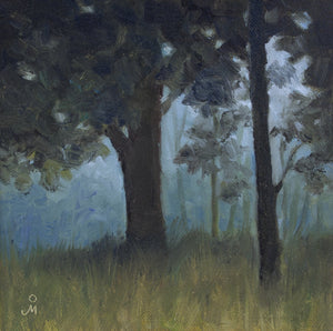 Landscape painting of a dawn in a forest.