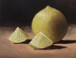 Still life painting showing one whole and two small peices of lime placed on a table, against a dark background.