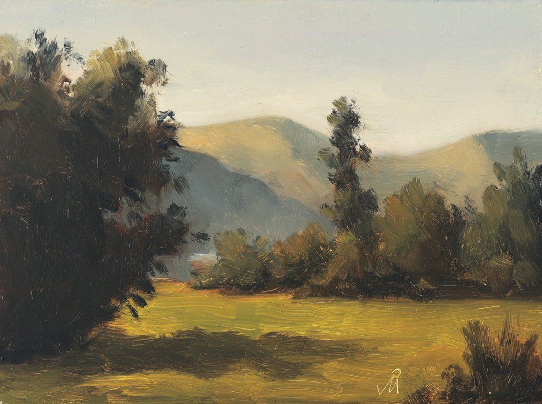 Sunny landscape painting of an afternoon at a farm. Trees on the farm's edge and the hills in the background catch the afternoon sunlight.