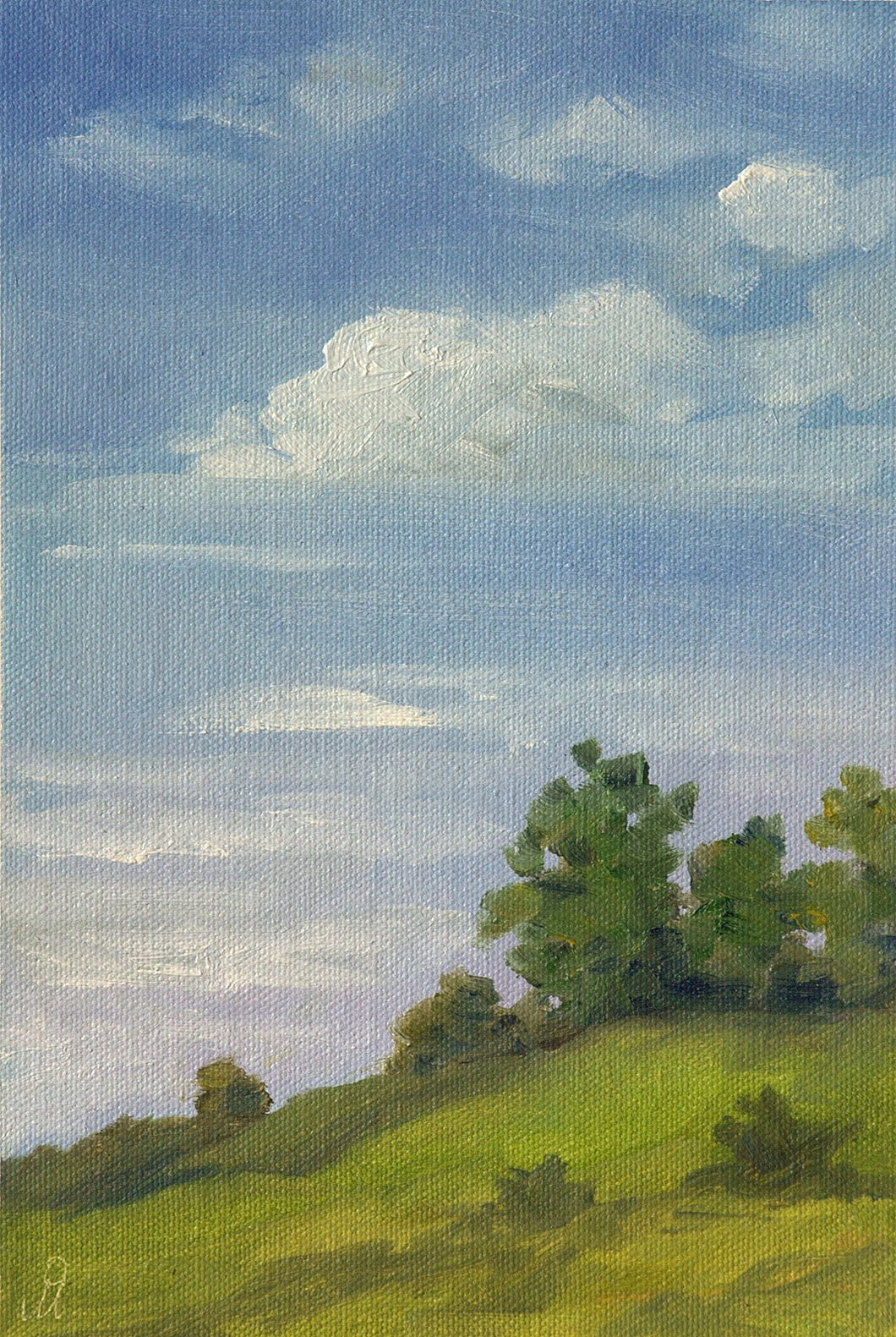 Landscape painting showing vast blue sky with a few white clouds in the background and green hills with a few trees and in the foreground.