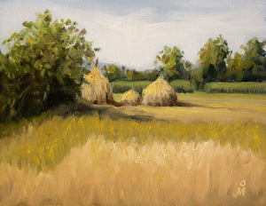 Landscape painting of a farm with haystack during harvest.