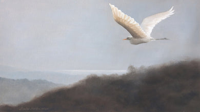 Oil Painting of a sea gull flying high in the sky.