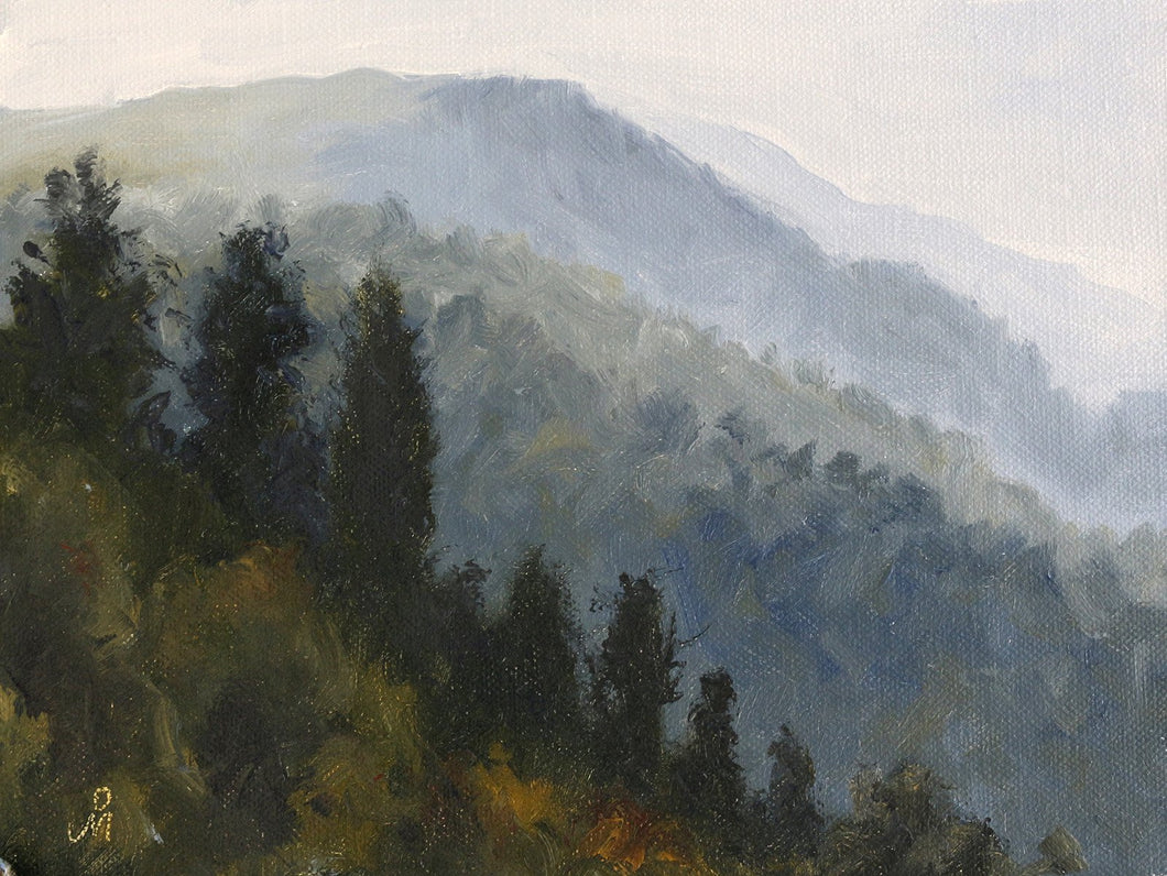 Landscape painting of mountains with tall coniferous trees