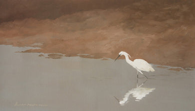 Oil Painting of an egret on a river bank ready to catch a fish.