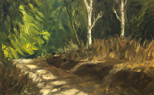 Landscape painting showing dappled morning light on a jungle road through thick forest.