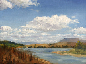 Landscape painting of backwater of a dam.