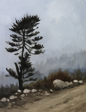 Landscape painting of a lone pine tree standing on the side of a high altitude mountain trail. Dark clouds have engulfed the surroundings.