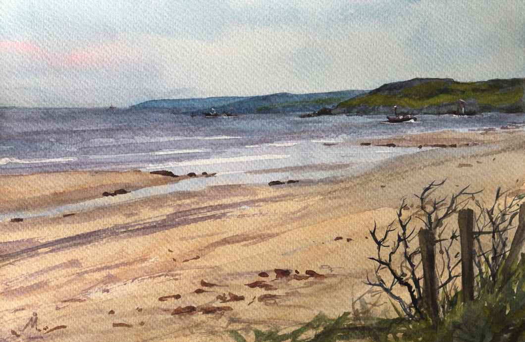 Landscape painting of a seashore at low tide.