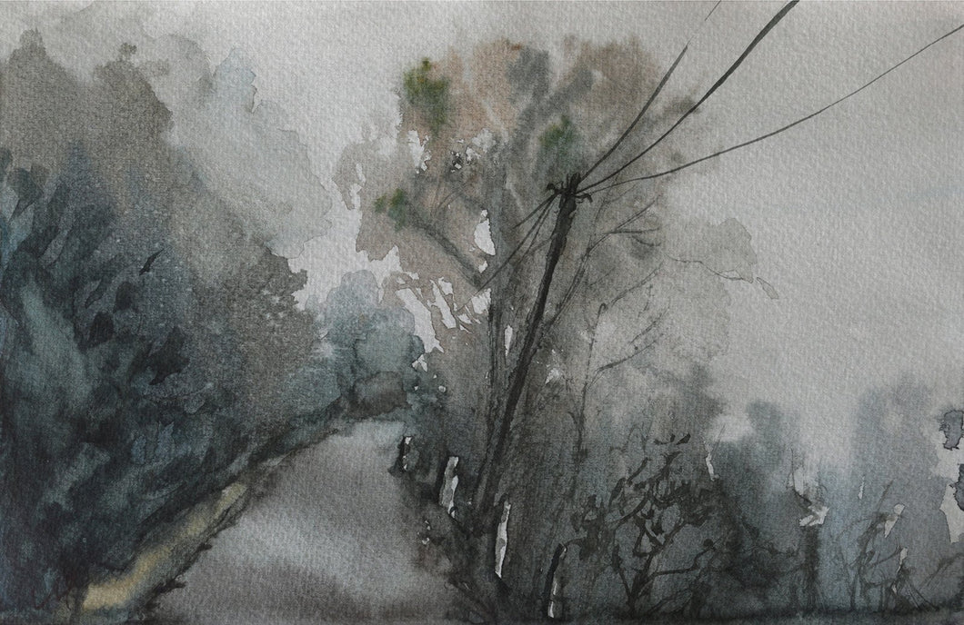 Landscape painting of a forest road during rainy season. The clouds have engulfed everything and the trees appear as silhouettes.