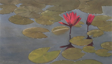 Oil painting of two red lilies blooming in a pond.