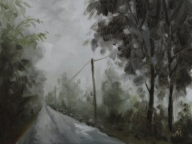 Landscape painting of a road in the hilly forests of Sikkim. Clouds have engulfed the surroundings.