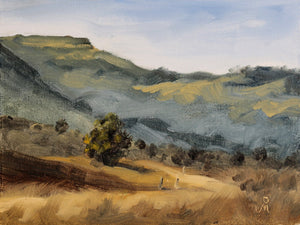 Landscape painting of hills at Malavali in the morning light.