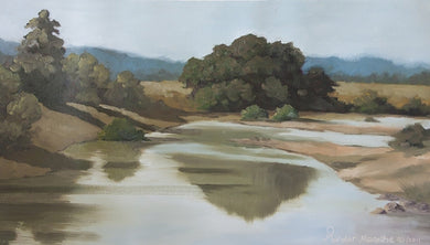 Landscape painting of tree shadows falling on a shallow river.