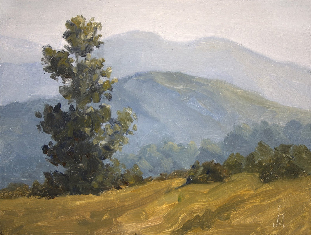 Landscape painting of hills at Mulshi in morning light.