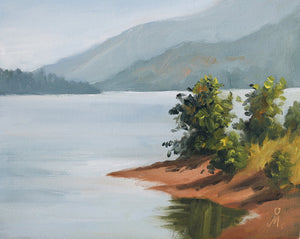Landscape painting showing backwater of a dam and surrounding areas.