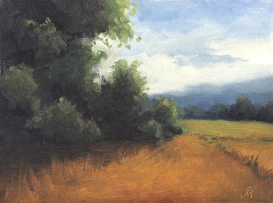 Landscape painting showing a shrubs and small trees on edge of a farm. The farm is green and some trees and a mountain is seen beyond it.