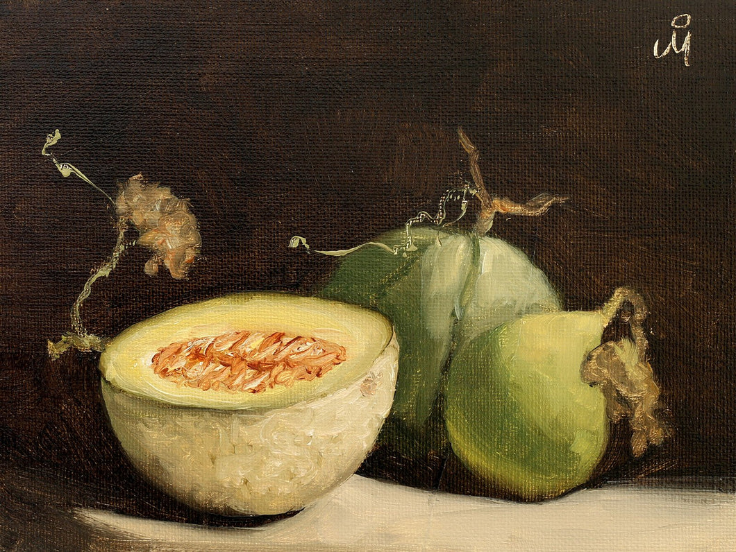 Still life painting showing 3 musk melons against a dark background. One of the melons is cut into half.