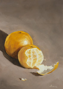 Oil painting of one whole and one half peeled orange.
