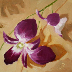 Oil painting of two purple and white colored orchid flowers on a yellow background.