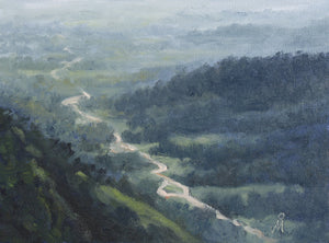 Landscape painting showing a valley as seen from top of a hill during rainy season.